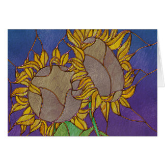 Two Sunflowers Stained Glass Look Card
