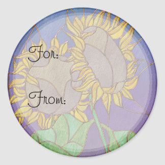 Two Sunflowers Stained Glass Look Classic Round Sticker