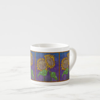 Two Sunflowers Stained Glass Look Espresso Cup