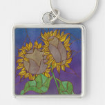Two Sunflowers Stained Glass Look Keychain
