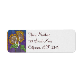 Two Sunflowers Stained Glass Look Label