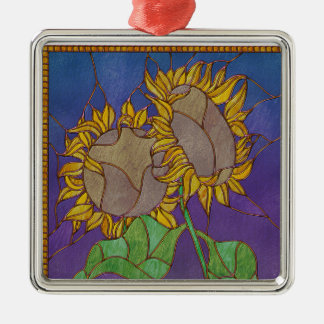 Two Sunflowers Stained Glass Look Metal Ornament