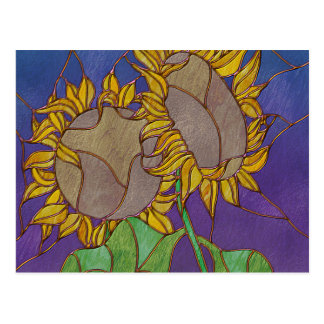 Two Sunflowers Stained Glass Look Postcard