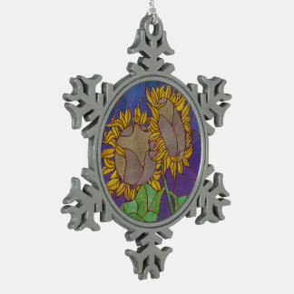 Two Sunflowers Stained Glass Look Snowflake Pewter Christmas Ornament