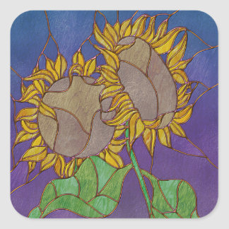 Two Sunflowers Stained Glass Look Square Sticker