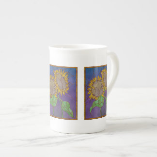 Two Sunflowers Stained Glass Look Tea Cup