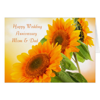 Two sunflowers Wedding Anniversary Mom & Dad Card