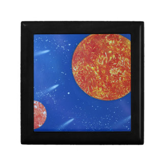 two suns blue background spacepainting gift box