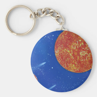 two suns blue background spacepainting basic round button keychain