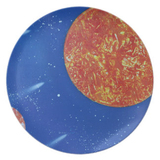 two suns blue background spacepainting melamine plate