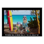Two Surfer Dogs on the Beach Poster