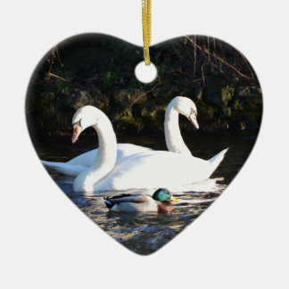 Two Swans And A Duck Ceramic Ornament