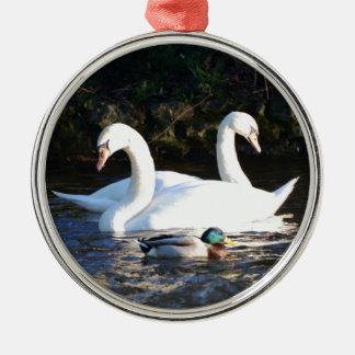 Two Swans And A Duck Metal Ornament