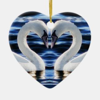 Two swans ceramic ornament