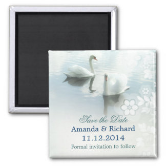 two swans elegant birds save the date magnets