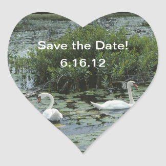 Two Swans Heart Save the Date Stickers