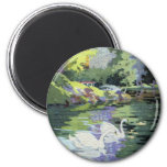 Two Swans in Central Park Lake 2 Inch Round Magnet