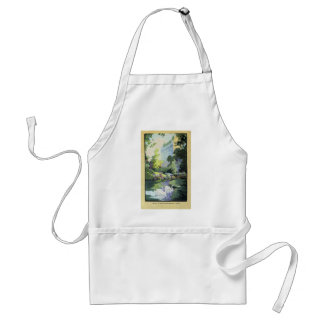 Two Swans in Central Park Lake Adult Apron