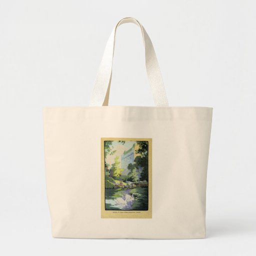 Two Swans in Central Park Lake Canvas Bags