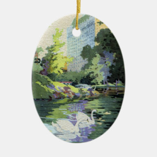 Two Swans in Central Park Lake Double-Sided Oval Ceramic Christmas Ornament