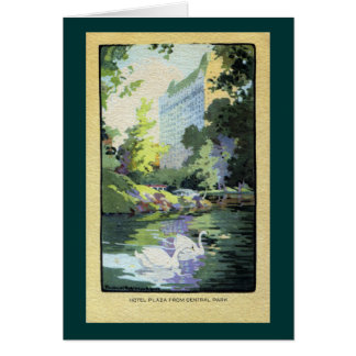 Two Swans in Central Park Lake Greeting Card