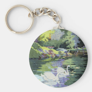 Two Swans in Central Park Lake Keychains