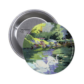 Two Swans in Central Park Lake Pinback Button