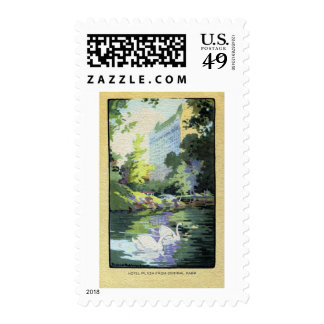 Two Swans in Central Park Lake Postage