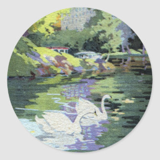 Two Swans in Central Park Lake Round Sticker