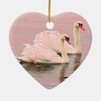 Two Swans in Love Ceramic Ornament