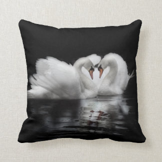 Two swans in love wildlife cushion