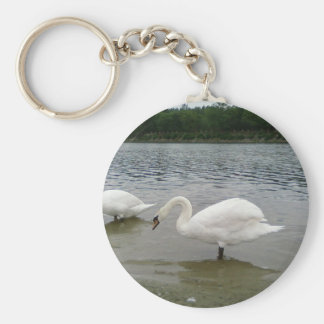Two Swans Lake Basic Round Button Keychain