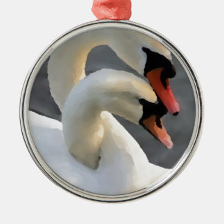 Two Swans Metal Ornament