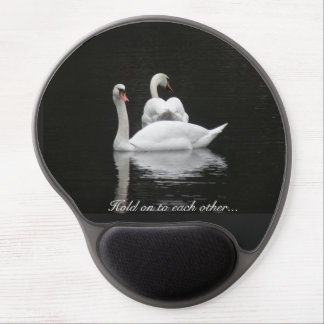 Two swans on a lake gel mouse pad