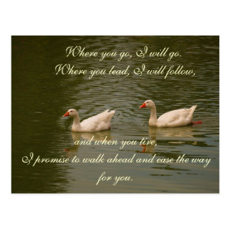 Two Swans on a Lake - Marriage Vows Postcard