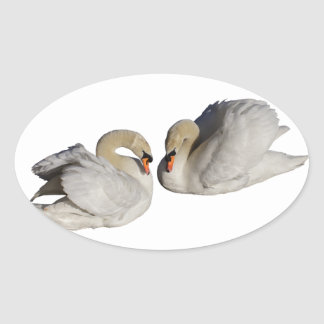 Two Swans Oval Sticker