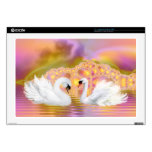 Two Swans Pink Fractal Background  Laptop Skin