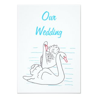 "Two Swans Swimming Drawing Wedding Invitations 5"" X 7"" Invitation Card"