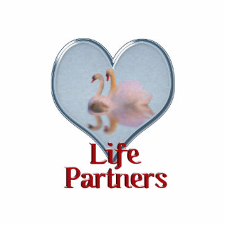 """Two Swans Swimming w/text """"Life Partners"""" Cutout"""
