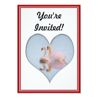 Two Swans Together in Heart Shape Card