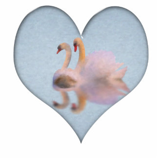 Two Swans Together in Heart Shape Statuette
