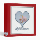 """Two Swans (with Blue """"Life Partners"""" Text) Binders"""