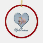 """Two Swans (with Blue """"Life Partners"""" Text) Christmas Tree Ornament"""
