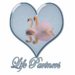 """Two Swans (with Blue """"Life Partners"""" Text) Photo Cut Out"""