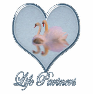 """Two Swans (with Blue """"Life Partners"""" Text) Statuette"""