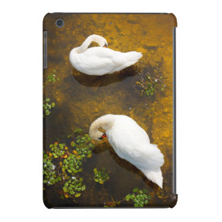 Two swans with sun reflection on shallow water. iPad mini retina cases