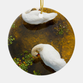 Two swans with sun reflection on shallow water. ceramic ornament