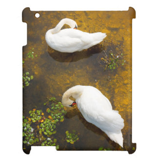 Two swans with sun reflection on shallow water. iPad cases