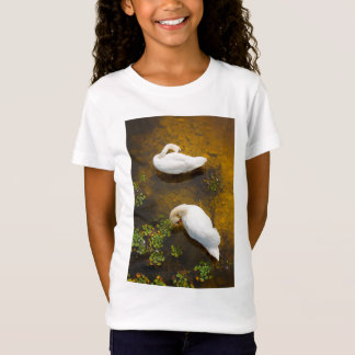 Two swans with sun reflection on shallow water. T-Shirt