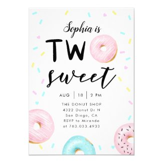 Two Sweet 2nd Donut Theme Birthday Party Invitation